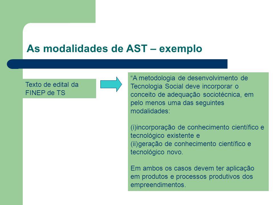 As modalidades de AST – exemplo