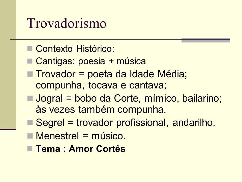Trovadorismo Contexto Histórico: Cantigas: poesia + música. Trovador = poeta da Idade Média; compunha, tocava e cantava;