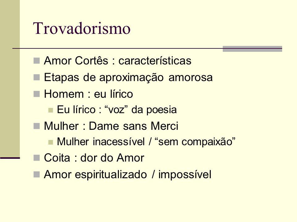 Trovadorismo Amor Cortês : características