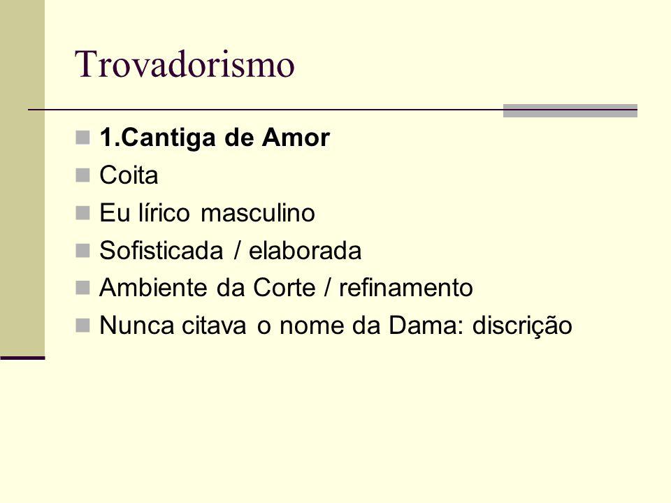 Trovadorismo 1.Cantiga de Amor Coita Eu lírico masculino