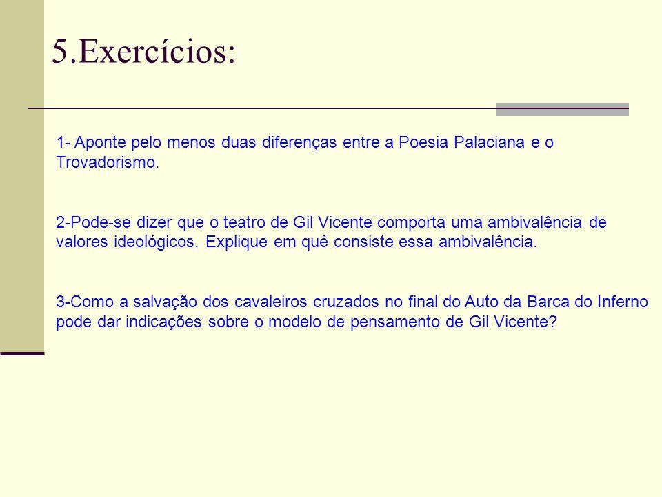 5.Exercícios:1- Aponte pelo menos duas diferenças entre a Poesia Palaciana e o. Trovadorismo.