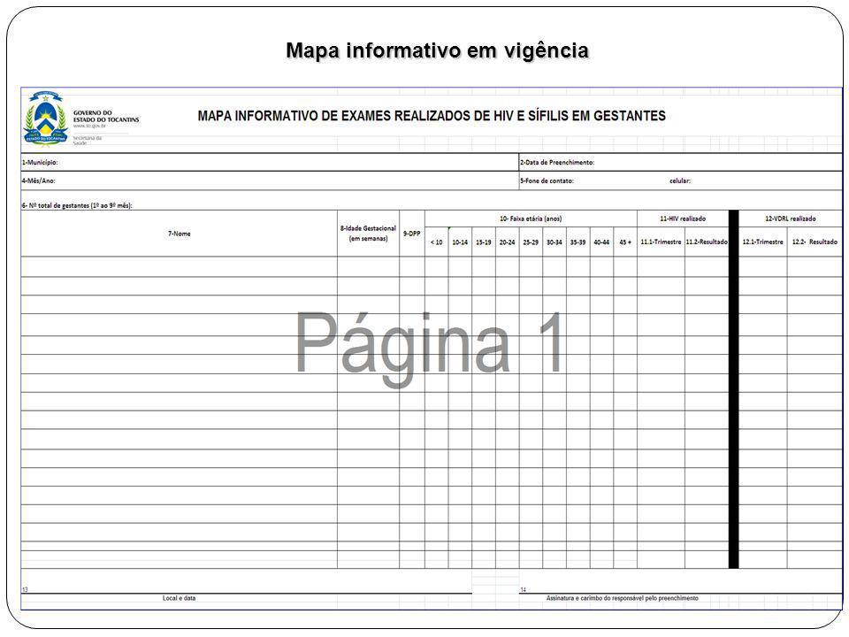 Mapa informativo em vigência