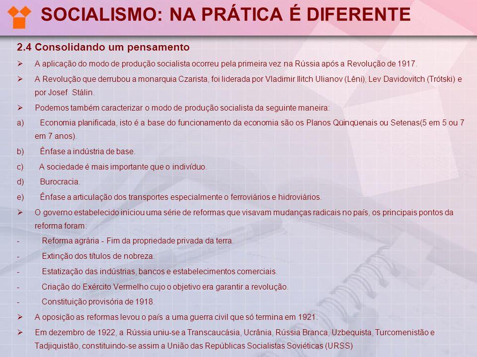 SOCIALISMO: NA PRÁTICA É DIFERENTE