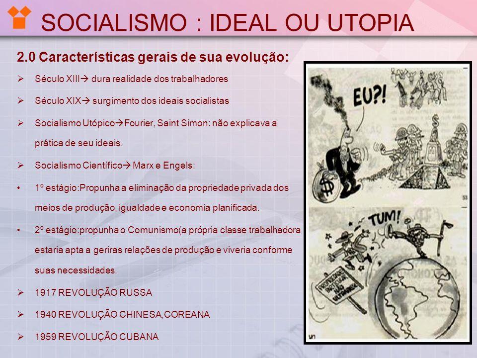 SOCIALISMO : IDEAL OU UTOPIA