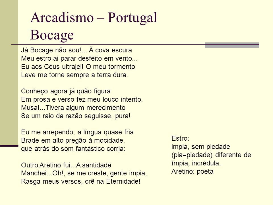 Arcadismo – Portugal Bocage