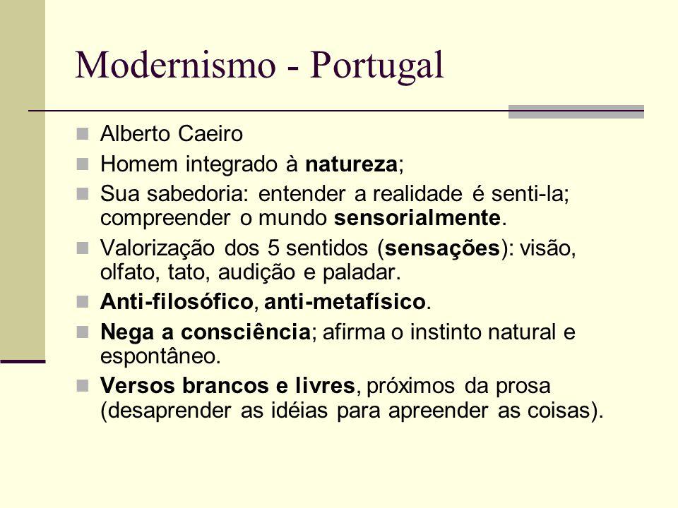 Modernismo - Portugal Alberto Caeiro Homem integrado à natureza;
