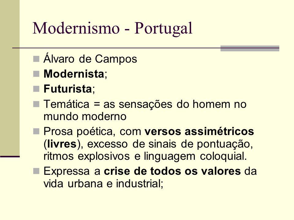 Modernismo - Portugal Álvaro de Campos Modernista; Futurista;