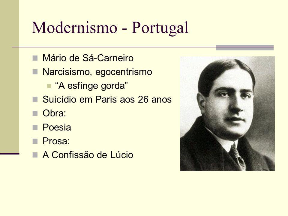 Modernismo - Portugal Mário de Sá-Carneiro Narcisismo, egocentrismo