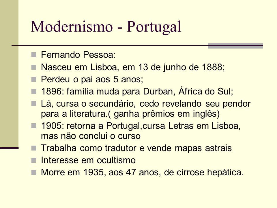 Modernismo - Portugal Fernando Pessoa: