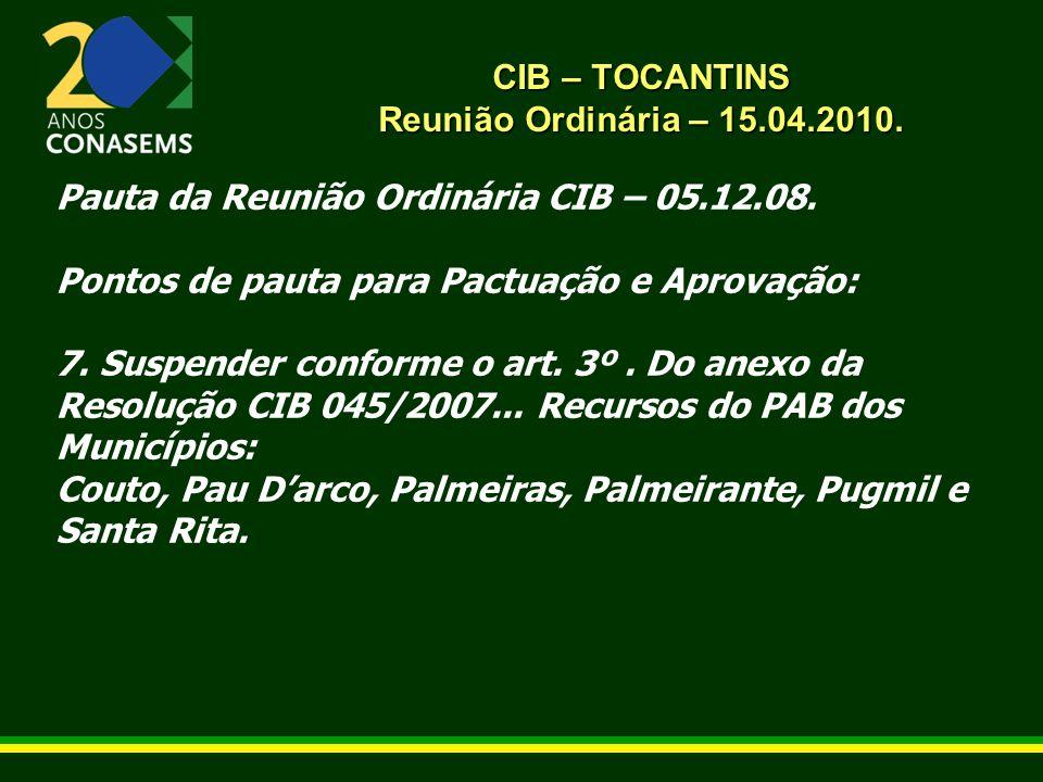 CIB – TOCANTINS Reunião Ordinária – 15.04.2010.