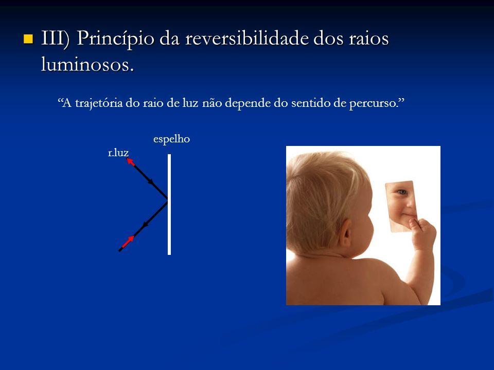 III) Princípio da reversibilidade dos raios luminosos.
