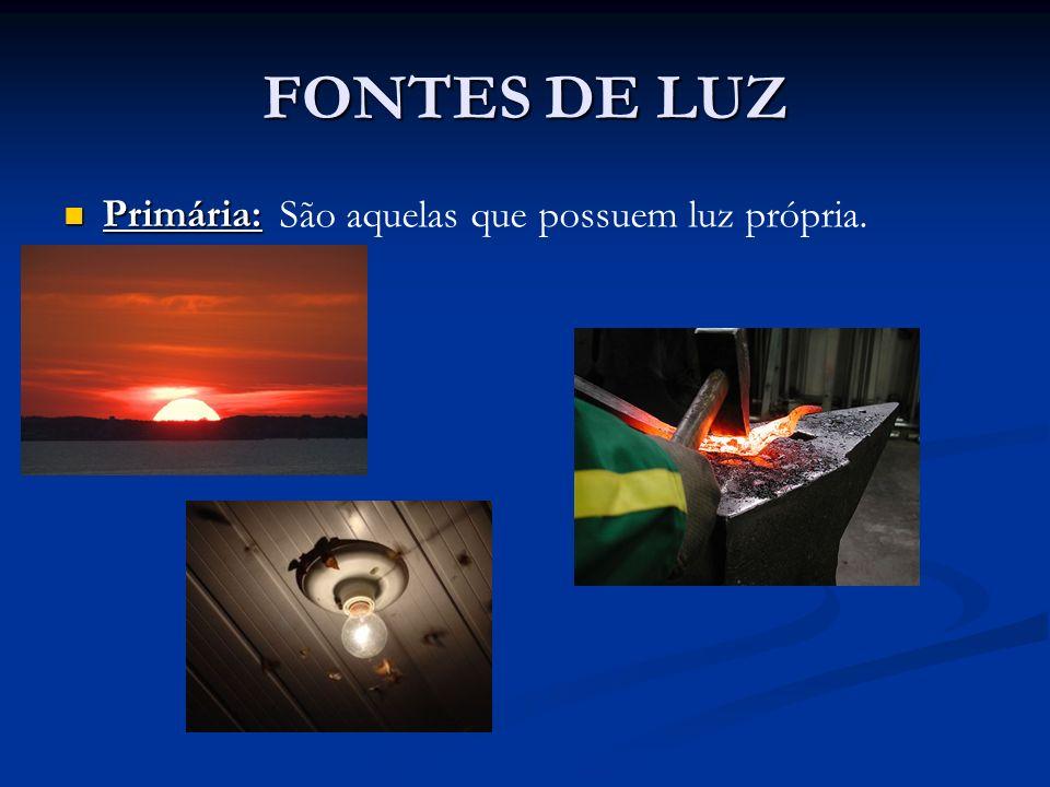 FONTES DE LUZ Primária: São aquelas que possuem luz própria.