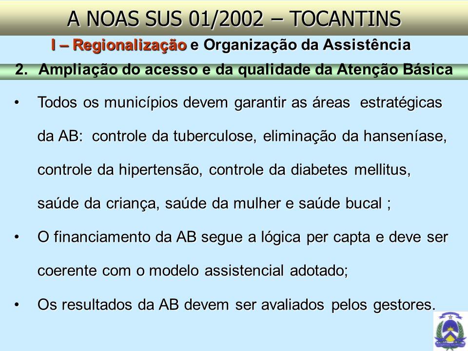 A NOAS SUS 01/2002 – TOCANTINSI – Regionalização e Organização da Assistência. Ampliação do acesso e da qualidade da Atenção Básica.
