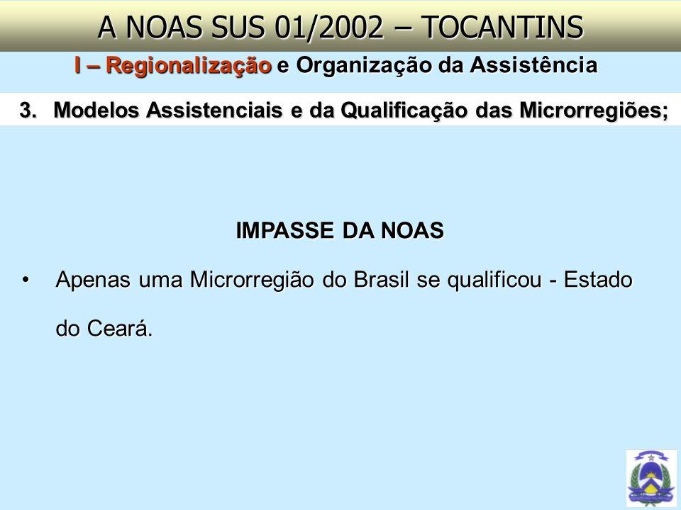 A NOAS SUS 01/2002 – TOCANTINSI – Regionalização e Organização da Assistência. Modelos Assistenciais e da Qualificação das Microrregiões;