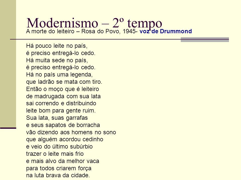 Modernismo – 2º tempoA morte do leiteiro – Rosa do Povo, 1945- voz de Drummond.