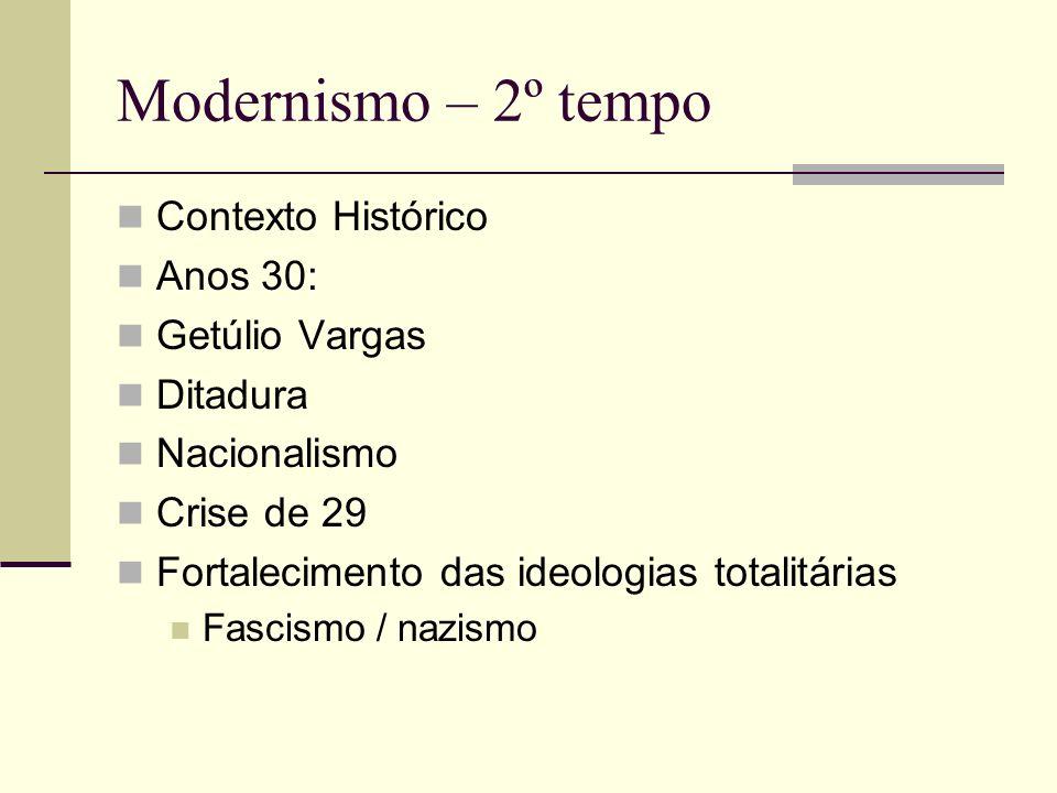 Modernismo – 2º tempo Contexto Histórico Anos 30: Getúlio Vargas