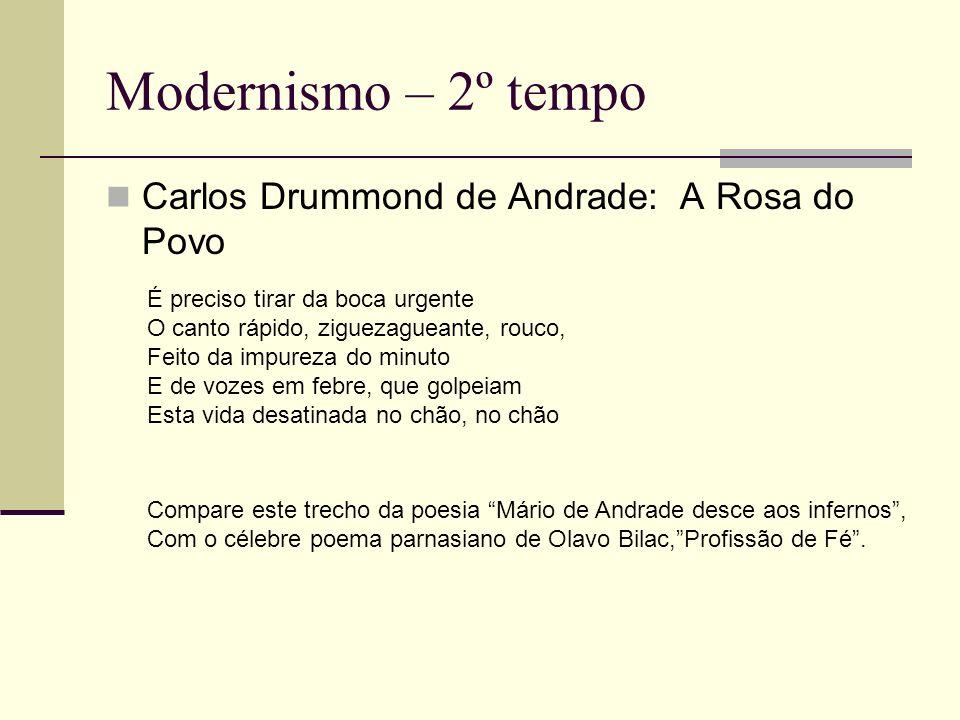 Modernismo – 2º tempo Carlos Drummond de Andrade: A Rosa do Povo