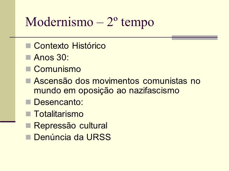 Modernismo – 2º tempo Contexto Histórico Anos 30: Comunismo
