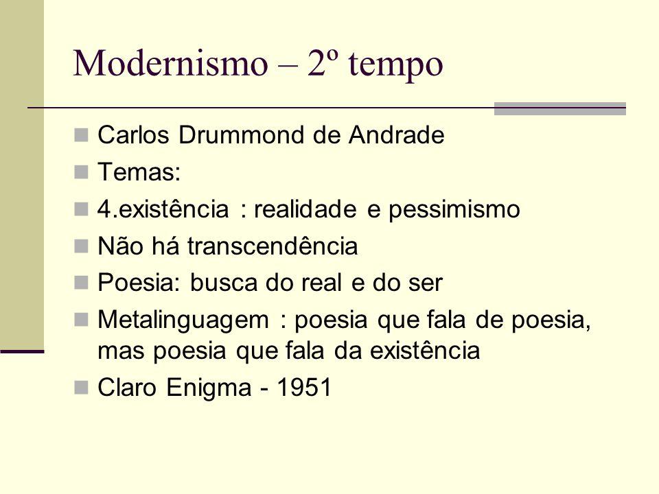 Modernismo – 2º tempo Carlos Drummond de Andrade Temas: