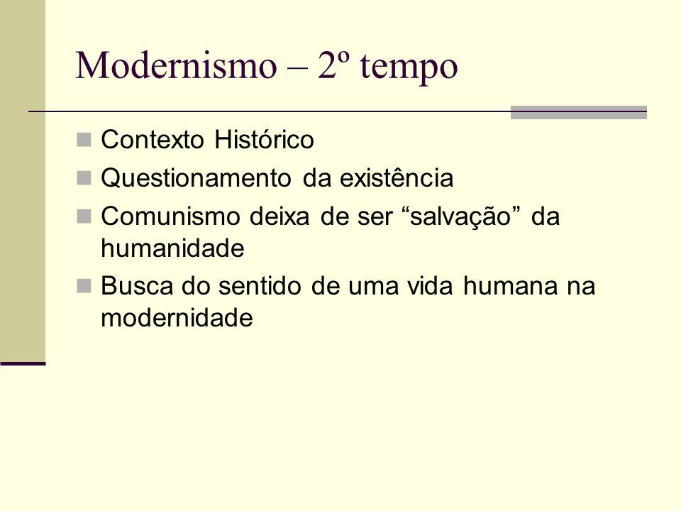 Modernismo – 2º tempo Contexto Histórico Questionamento da existência