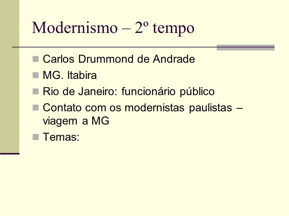 Modernismo – 2º tempo Carlos Drummond de Andrade MG. Itabira