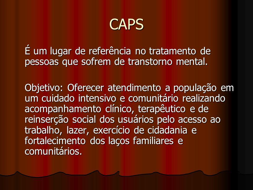 CAPS É um lugar de referência no tratamento de pessoas que sofrem de transtorno mental.