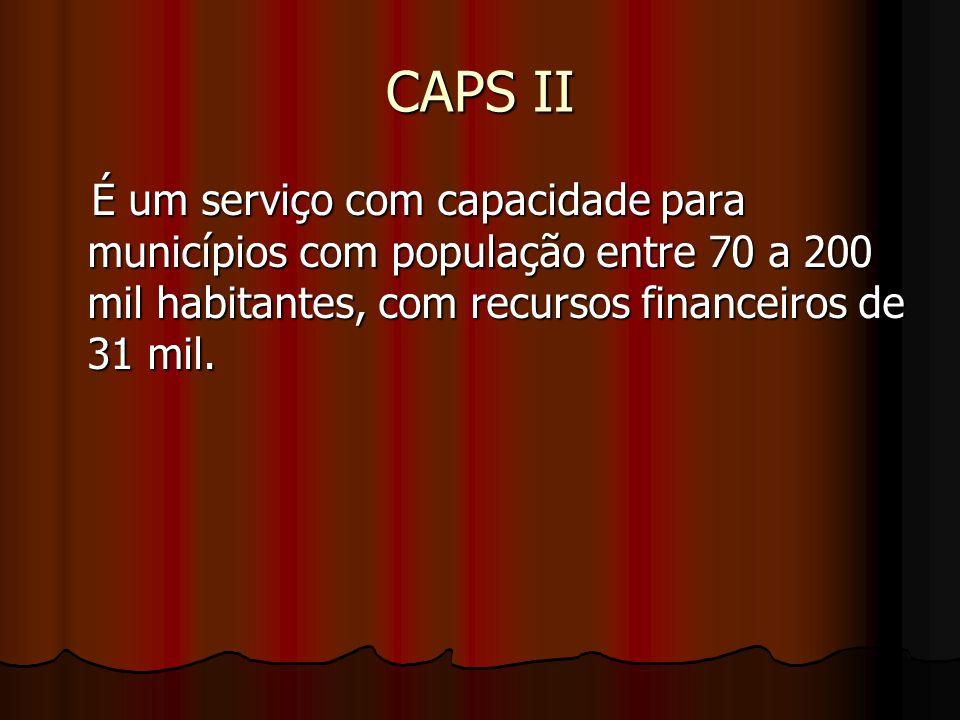 CAPS II É um serviço com capacidade para municípios com população entre 70 a 200 mil habitantes, com recursos financeiros de 31 mil.