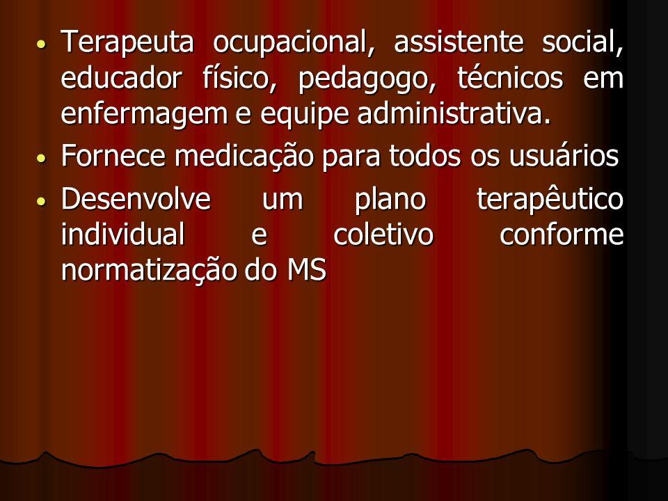 Terapeuta ocupacional, assistente social, educador físico, pedagogo, técnicos em enfermagem e equipe administrativa.