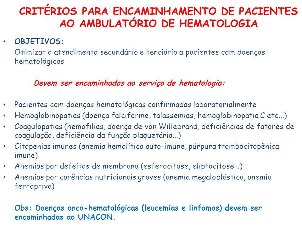 CRITÉRIOS PARA ENCAMINHAMENTO DE PACIENTES AO AMBULATÓRIO DE HEMATOLOGIA