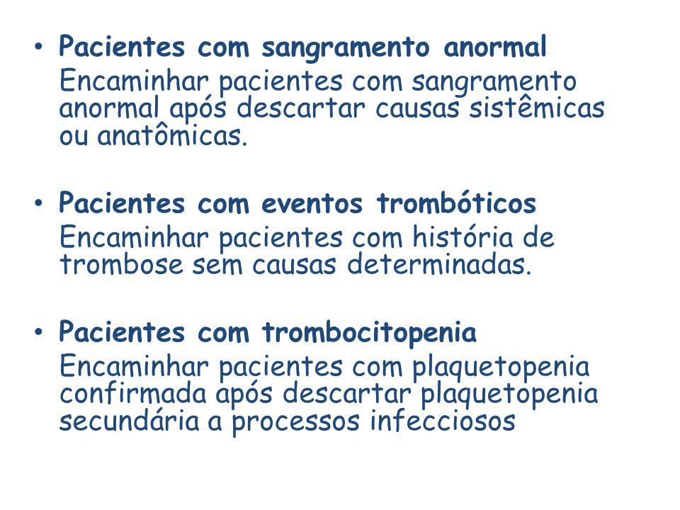 Pacientes com sangramento anormal