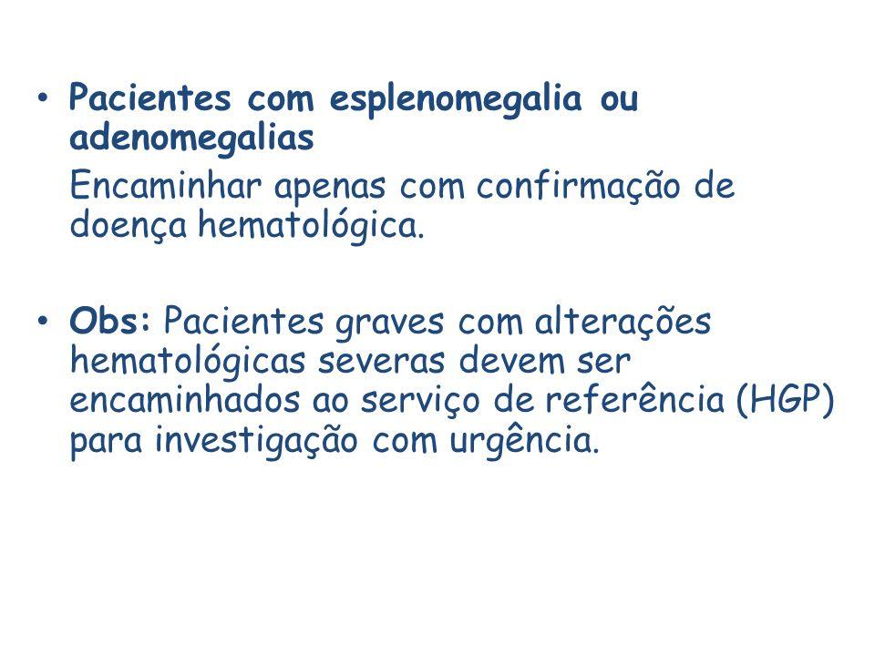 Pacientes com esplenomegalia ou adenomegalias
