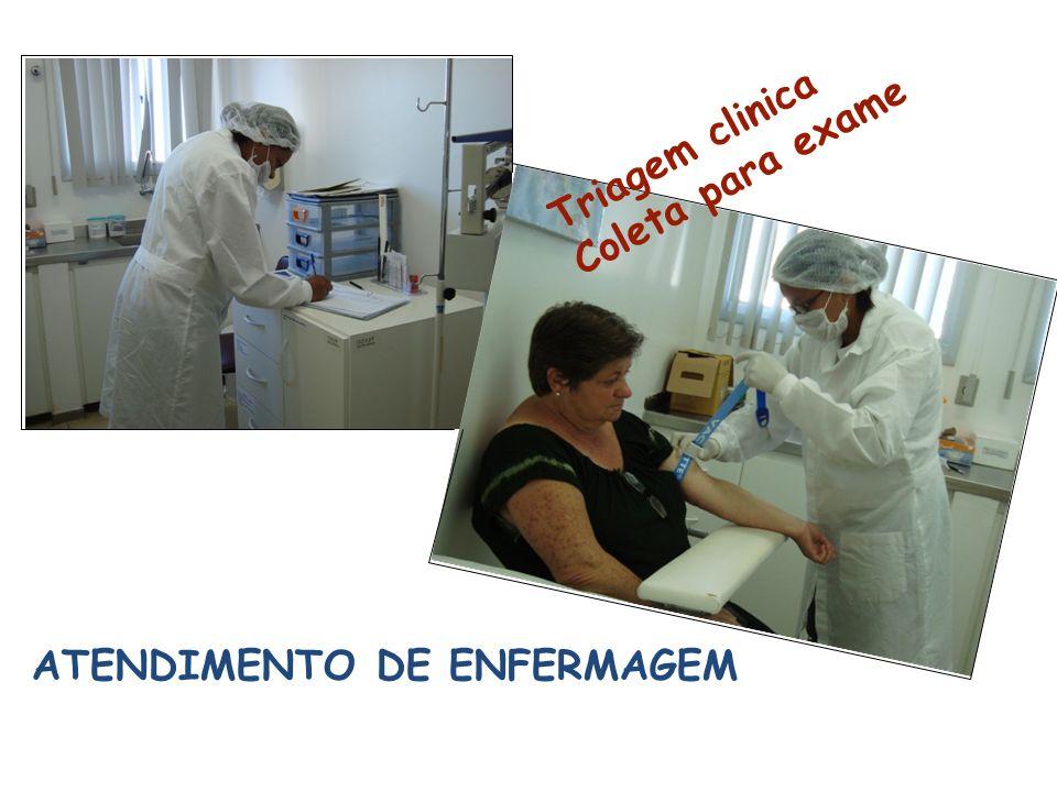 Triagem clinica Coleta para exame ATENDIMENTO DE ENFERMAGEM