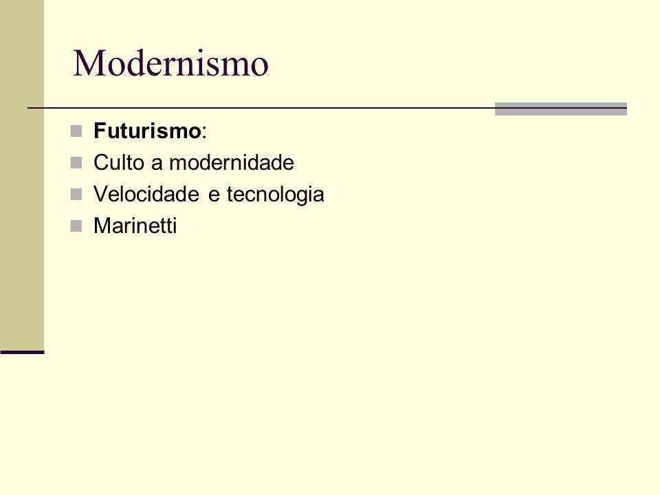 Modernismo Futurismo: Culto a modernidade Velocidade e tecnologia