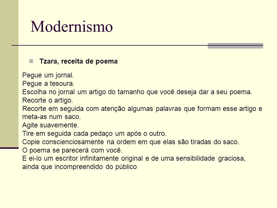 Modernismo Tzara, receita de poema Pegue um jornal. Pegue a tesoura.