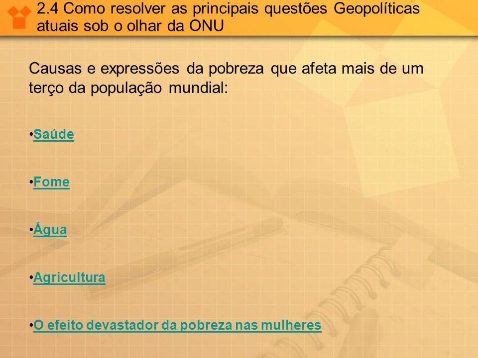 2.4 Como resolver as principais questões Geopolíticas atuais sob o olhar da ONU
