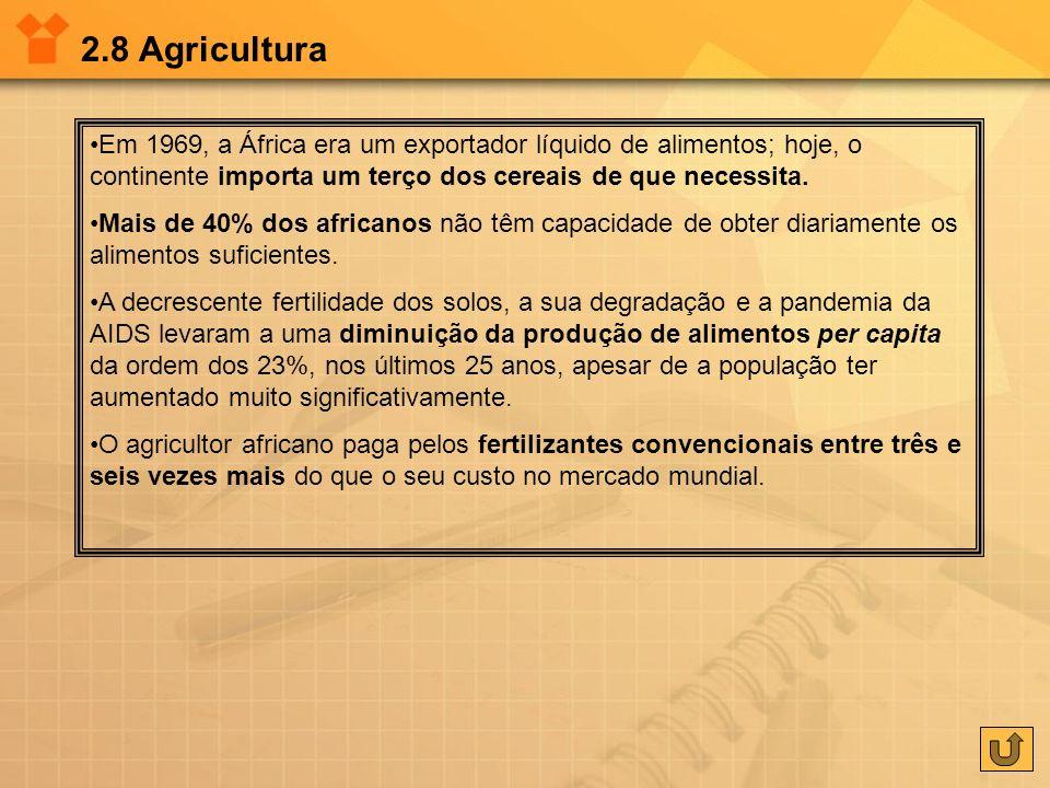 2.8 AgriculturaEm 1969, a África era um exportador líquido de alimentos; hoje, o continente importa um terço dos cereais de que necessita.