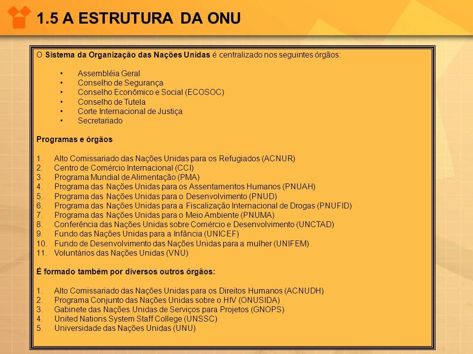 1.5 A ESTRUTURA DA ONU O Sistema da Organização das Nações Unidas é centralizado nos seguintes órgãos: