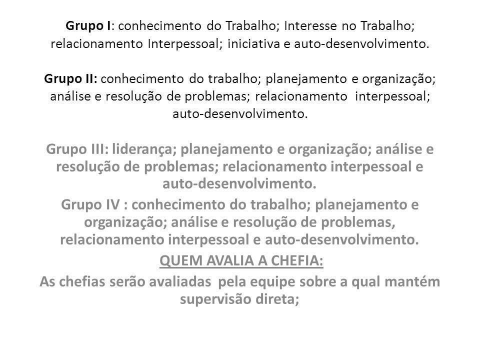 Grupo I: conhecimento do Trabalho; Interesse no Trabalho; relacionamento Interpessoal; iniciativa e auto-desenvolvimento. Grupo II: conhecimento do trabalho; planejamento e organização; análise e resolução de problemas; relacionamento interpessoal; auto-desenvolvimento.