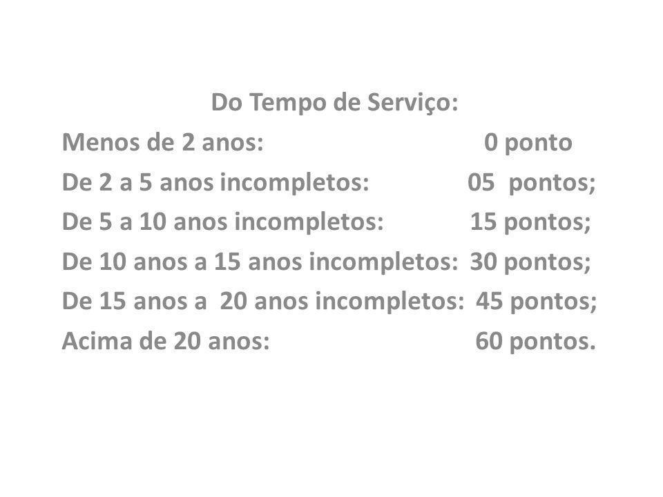 Do Tempo de Serviço: Menos de 2 anos: 0 ponto. De 2 a 5 anos incompletos: 05 pontos;