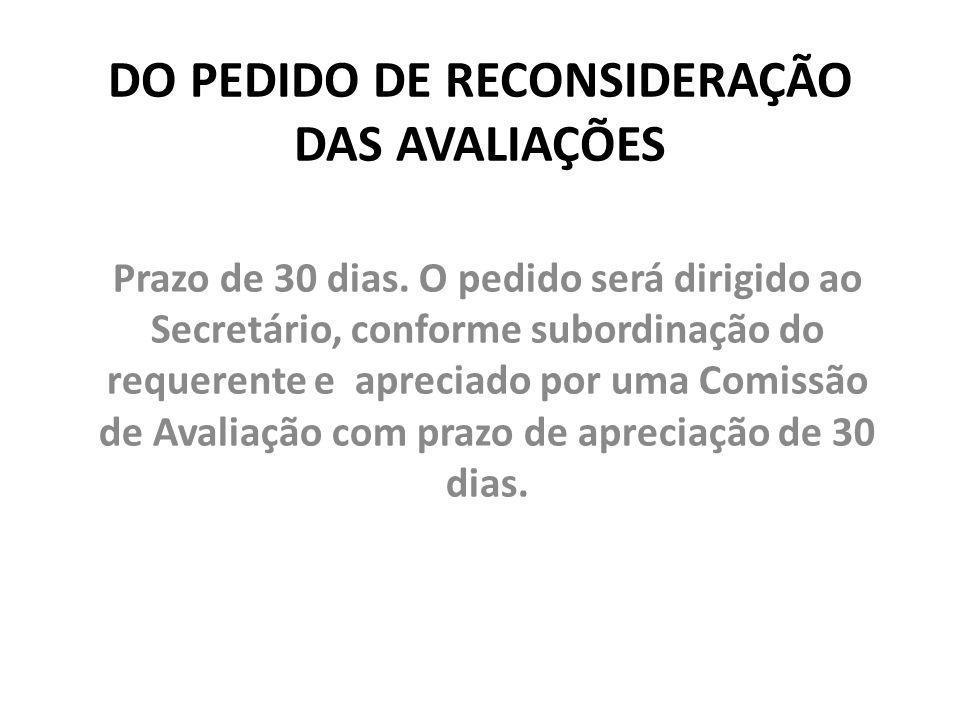 DO PEDIDO DE RECONSIDERAÇÃO DAS AVALIAÇÕES