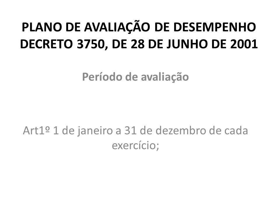 PLANO DE AVALIAÇÃO DE DESEMPENHO DECRETO 3750, DE 28 DE JUNHO DE 2001