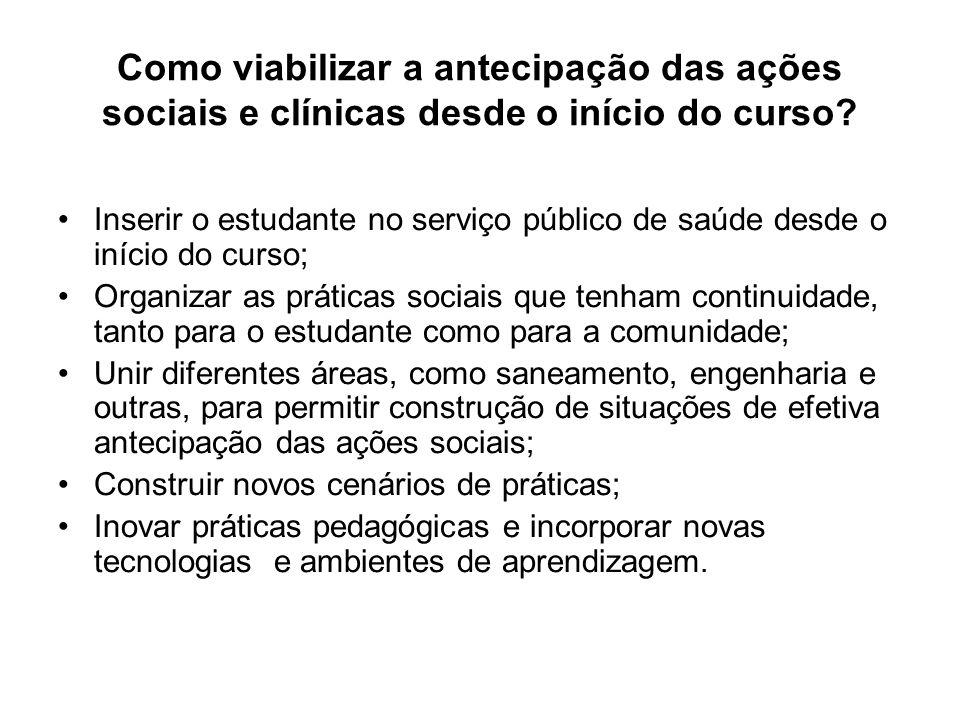 Como viabilizar a antecipação das ações sociais e clínicas desde o início do curso