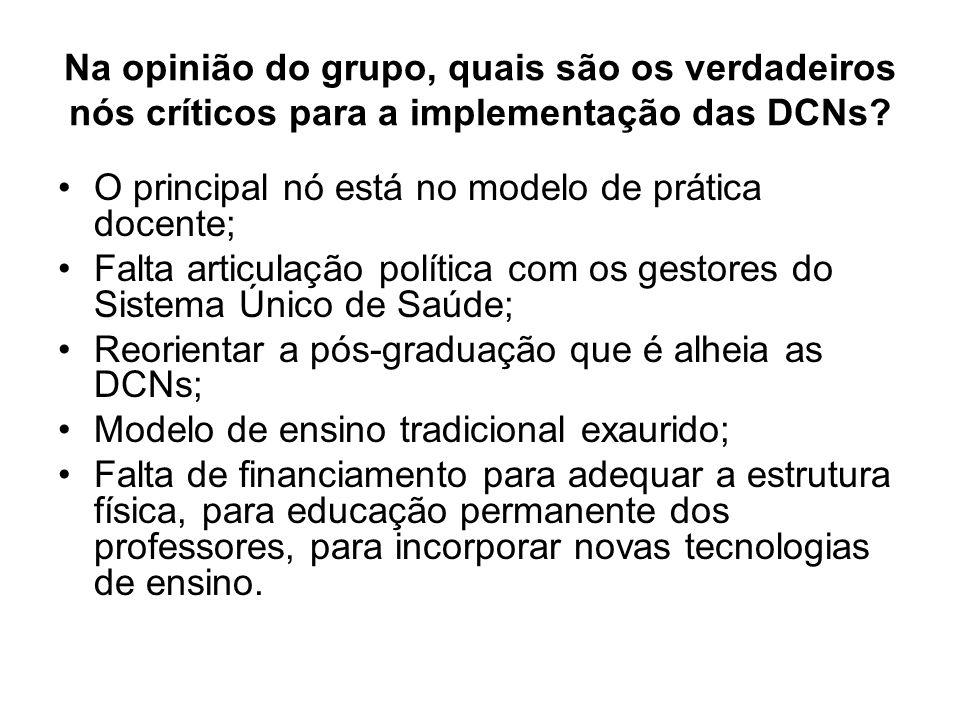 Na opinião do grupo, quais são os verdadeiros nós críticos para a implementação das DCNs
