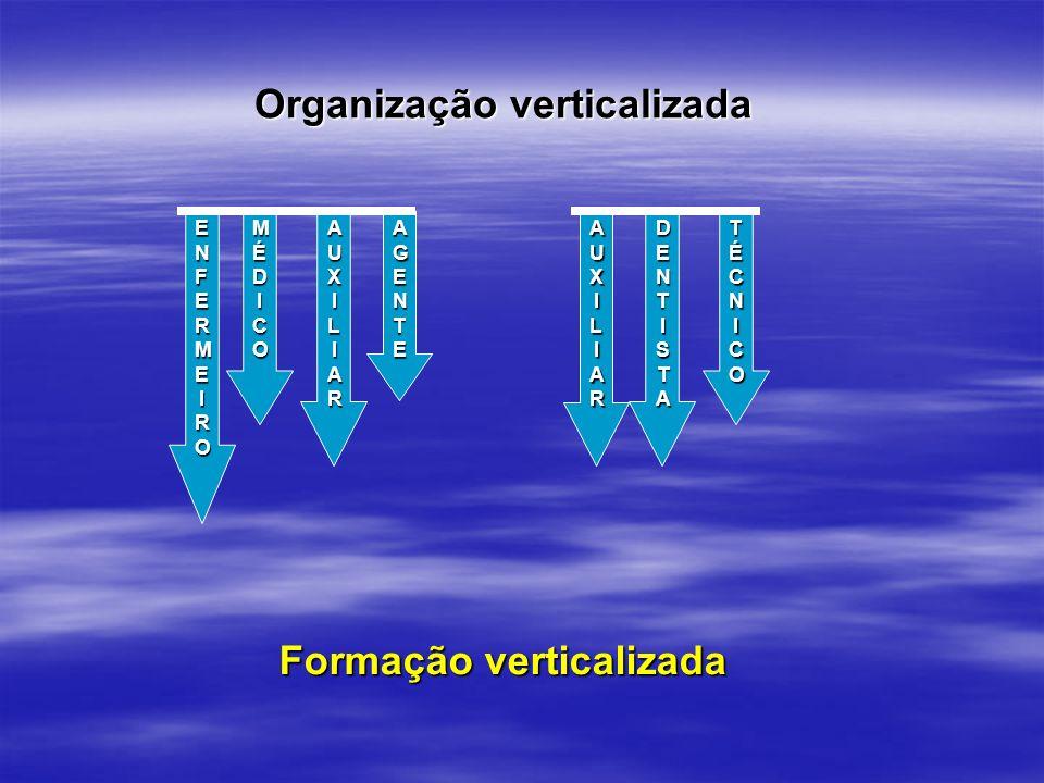 Organização verticalizada Formação verticalizada