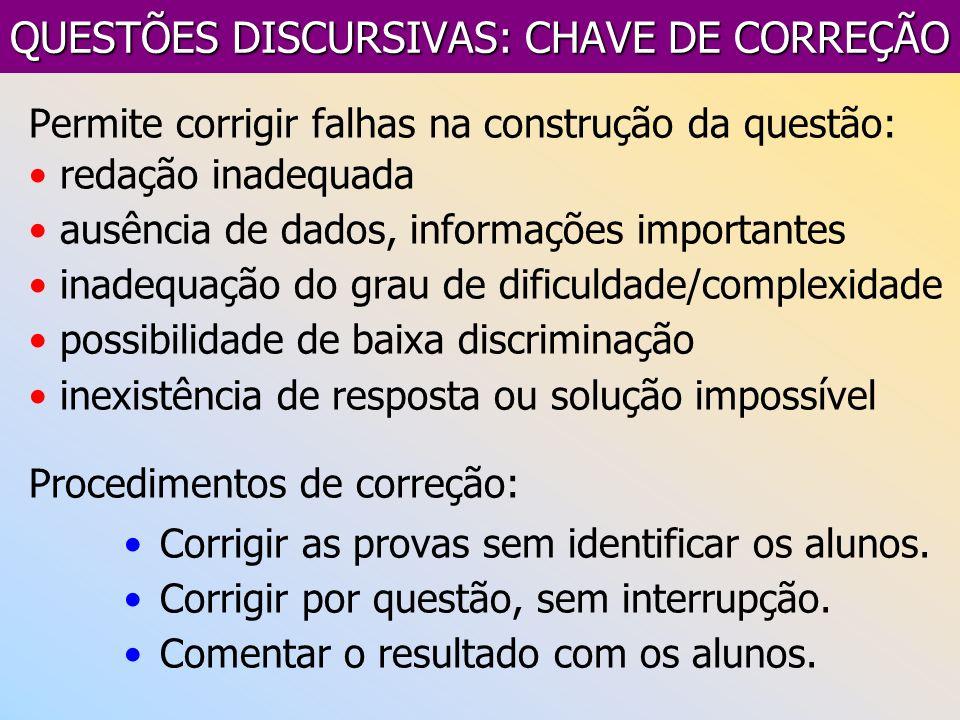 QUESTÕES DISCURSIVAS: CHAVE DE CORREÇÃO