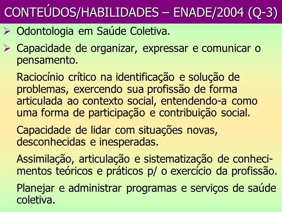 CONTEÚDOS/HABILIDADES – ENADE/2004 (Q-3)