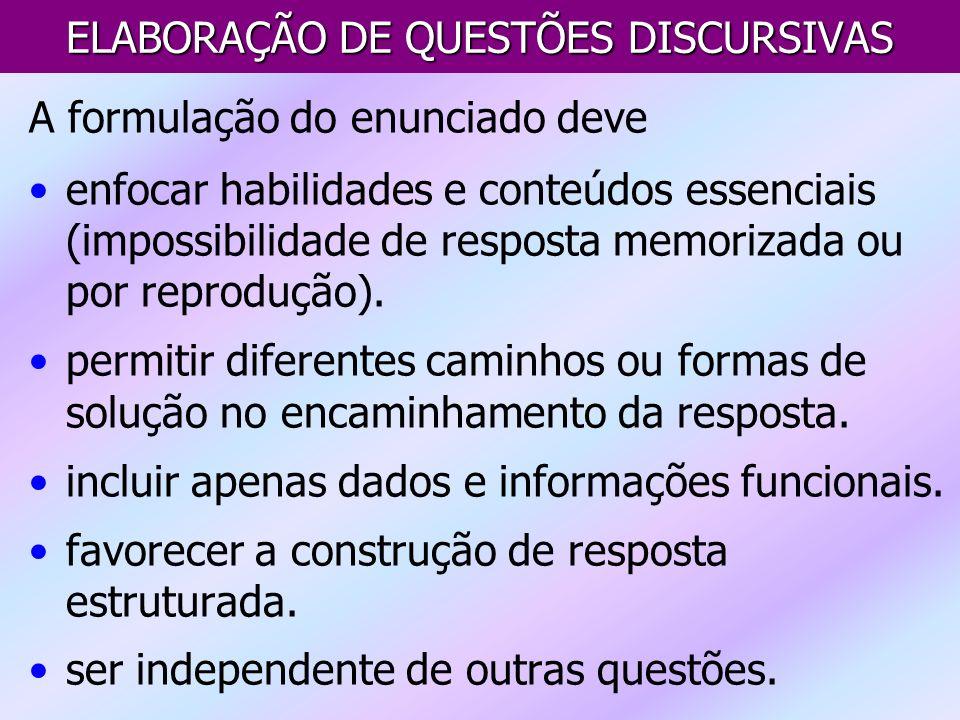 ELABORAÇÃO DE QUESTÕES DISCURSIVAS
