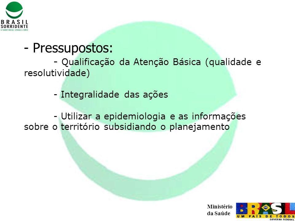 Pressupostos: - Qualificação da Atenção Básica (qualidade e resolutividade) - Integralidade das ações - Utilizar a epidemiologia e as informações sobre o território subsidiando o planejamento