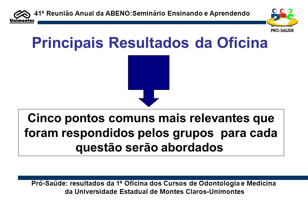 Principais Resultados da Oficina