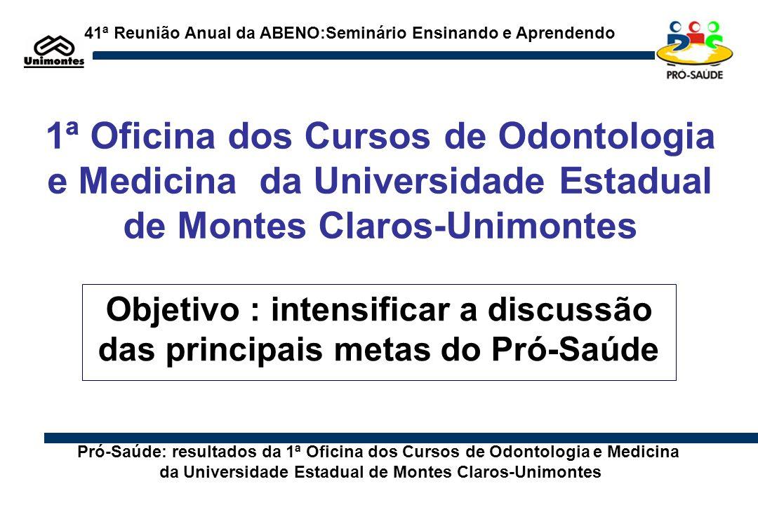 Objetivo : intensificar a discussão das principais metas do Pró-Saúde